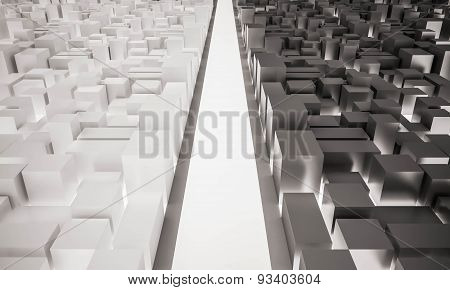 3d rendered, aerial view in city with main road
