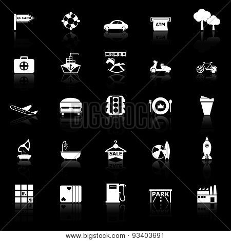 Map Place Icons With Reflect On Black Background