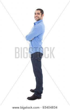 Full Length Portrait Of Smiling Business Man In Blue Shirt Isolated On White