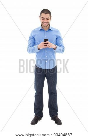 Full Length Portrait Of Handsome Arabic Man In Blue Shirt With Smartphone Isolated On White