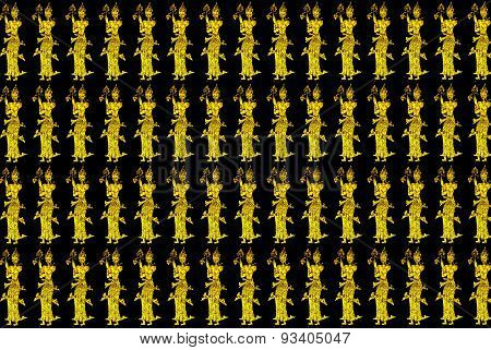 Ancient Gold Thai Art Style  Pattern Seamless Gold Pattern On Black Background