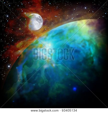 Abstract Space Background With Earth And Moon
