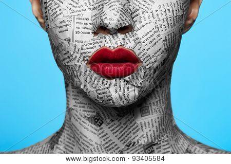 Newspaper On Beautiful Face