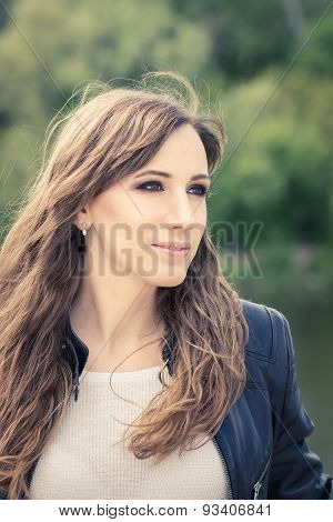 Pretty Girl With Smoky Eyes Make Up Outdoor Portrait.