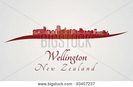 Wellington Skyline In Red