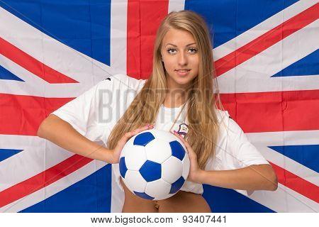 Female model on flag. Soccer.
