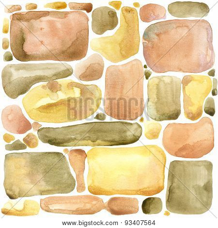 Stone wall Gold palette watercolor background