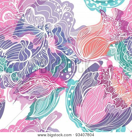 Vector Pattern with Magic Light Flowers