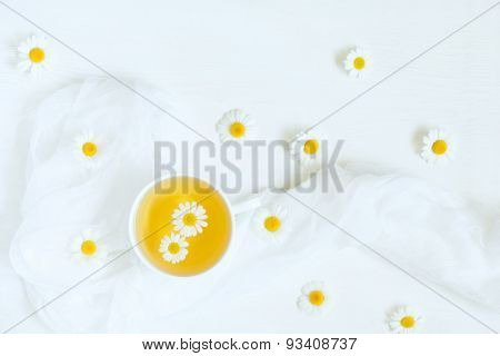 Cup of natural chamomile herbal tea with blooming camomile flowers on white table background