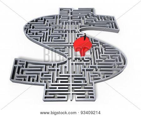Man Standing Red Question Mark Gray 3D Money Maze Center