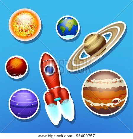 spaceship with solar system
