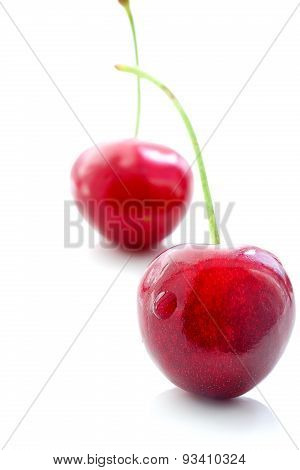 Appetizing Sweet Cherries On A White Background
