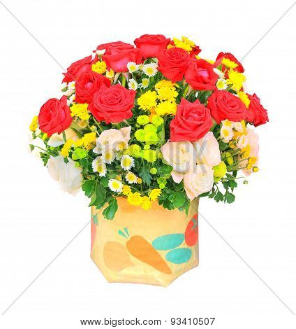 Red And White Roses Flowers Bouquet And Yellow Tulip In Bucket Isolated White Background Use For Hom