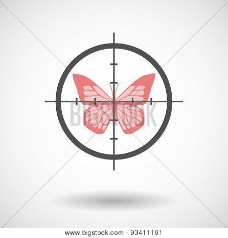 Crosshair Icon Targeting A Butterfly