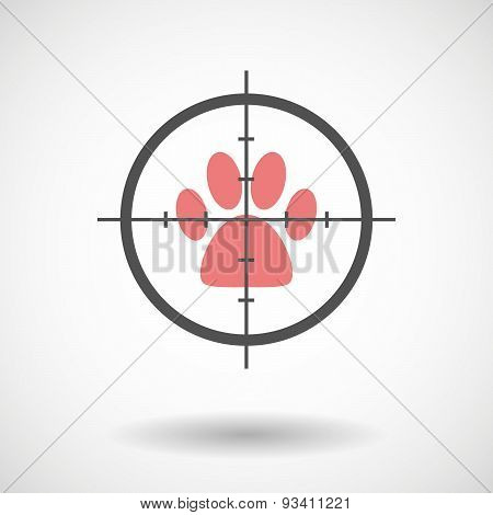 Crosshair Icon Targeting An Animal Footprint
