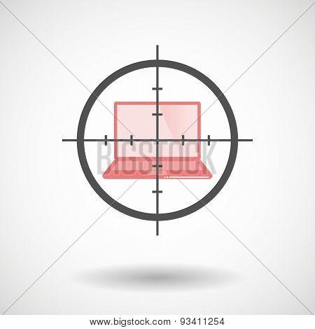 Crosshair Icon Targeting A Laptop