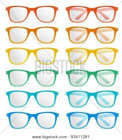 Vector glasses color set