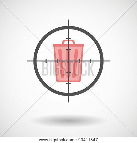 Crosshair Icon Targeting A Trash Can