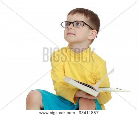 Future business man or scientist, a little boy with glasses and