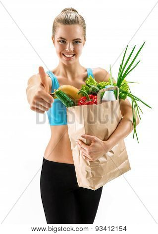 Happy Cutie Athletic Woman Gesturing Thumb Up With Grocery Bag Full Of Healthy Fruits And Vegetables