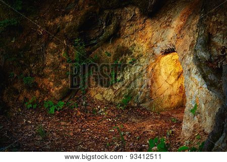 Secret Stone Cave In Dark Forest