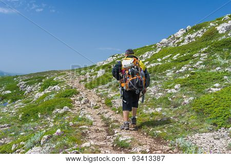 Lonely hiker walks through Chatyr-Dah mountainous massif in Crimean mountains