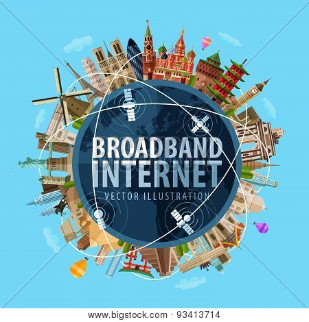 broadband Internet vector logo design template. communication, connection, liaison or online icon.