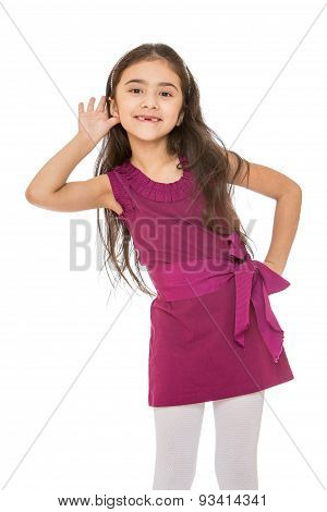 Beautiful dark-haired girl in a short velvet dress had a hand to