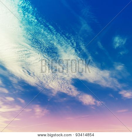 Bright Cloudy Sky, Stylized Background Photo