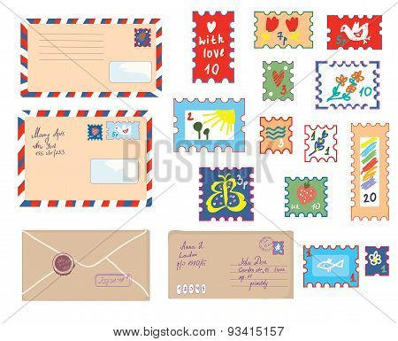 Letters And Post Stamps Funny Set