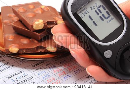 Glucometer In Hand And Portion Of Chocolate On Medical Form