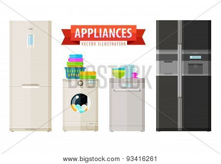 appliances icons. set of elements - refrigerator, washing machine, dishwasher, kitchen utensils, lau