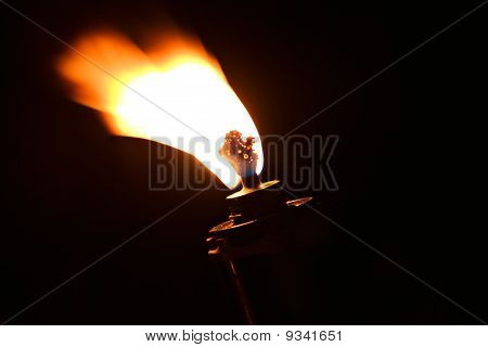 Torch Flame Fire Burn At Black Background