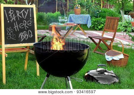 Summer Backyard Bbq Grill Party Scene