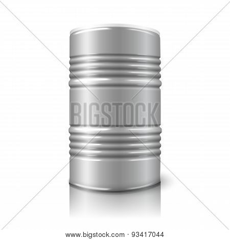 Blank realistic vector big oil barrel isolated on white with reflection.