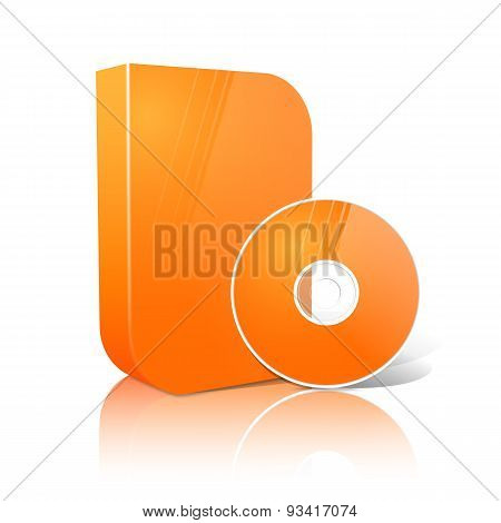 Bright realistic orange isolated DVD, CD, Blue-Ray smooth shaped case with disk. Vector