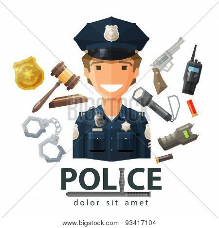 police vector logo design template. policeman, cop or law, constabulary icon