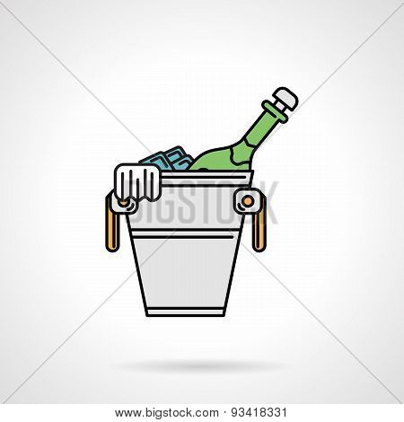Cooling bucket flat color vector icon