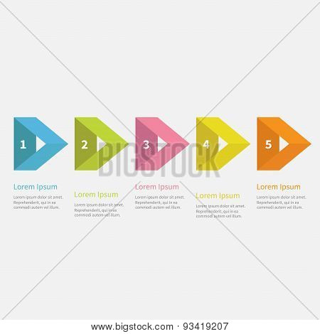 Infographic Five Step  With Empty Triangle Arrow And Text. Template. Timeline Flat Design.