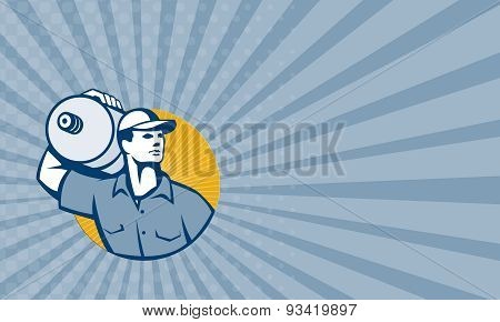 Business Card Delivery Worker Carrying Water Jug Retro