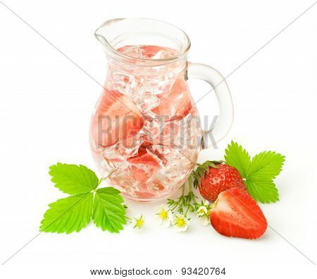 Refreshment Beverage With Strawberries And Ice Cubies