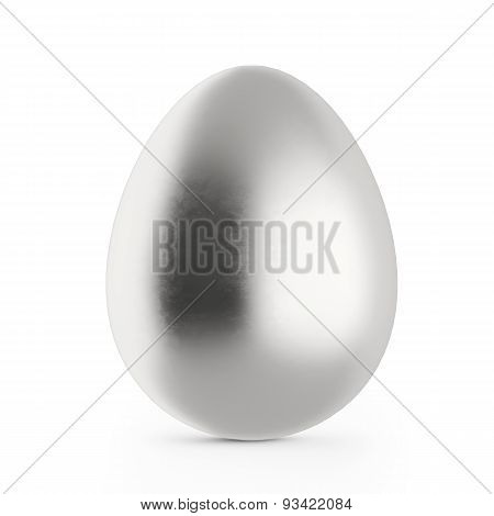 Realistic 3d silver egg isolated on a white background.