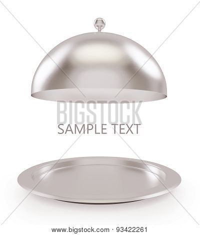 Isolated silver open tray on a white background.