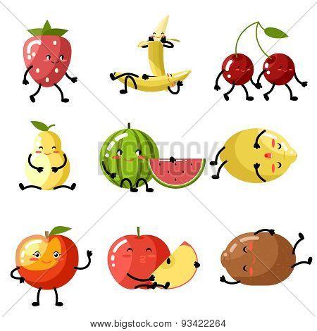 Fresh fruit apple cherry watermelon kiwi strawberry lemon peach pear banana healthy food natural vit