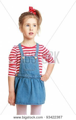 Adorable little girl in a striped shirt