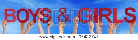 People Hold Red Straight Word Boys Girls Blue Sky