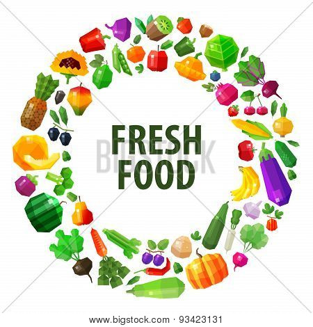 fresh food vector logo design template. fruits and vegetables or gardening, horticulture icon