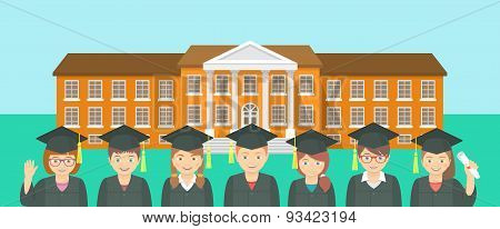 Flat Style Kids Graduation And School Building