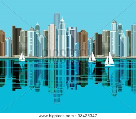 Big city. Skyscrapers stand on the beach and reflected in the water