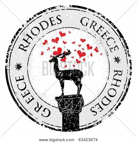 Grunge Love Stamp With Rhodes  Deer And Heart, Greece Written Inside